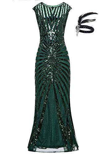 1920er Jahre Pailletten Meerjungfrau Formale Lange Flapper Kleid große Gatsby Party Abendkleid (L, Green)