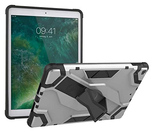 LYB Tablet Cases for IPad Air 9.7 Inch (2013 Release), Heavy Duty Hybrid Armor Defender Shockproof Tablet Case with Foldable Stand Hand Strap Protective Cover (Color : Silver)