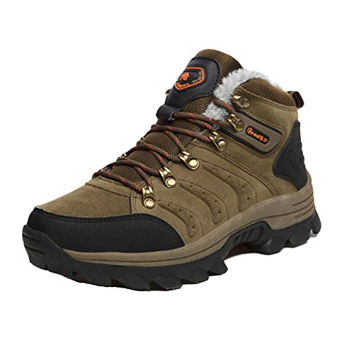 Mens Couple Models Hiking Shoes Plus Cotton High For Outdoor Beach Boating Fishing And Leisure Activities Send Socks Brown 10.5 Us