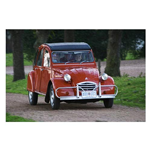 An Old Red Citroen CV Car with A Smiling Woman Puzzles for Adults, 500 Piece Kids Jigsaw Puzzles Game Toys Gift for Children Boys and Girls, 15