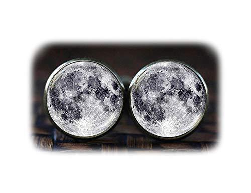 Pleine Lune Boutons de manchette, Galaxy Boutons de manchette, boutons de manchette lunaire, Planet Boutons de manchette