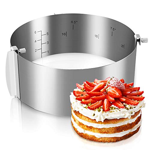 Gimars- Molde Redondo Ajustable para Tarta Pastel, Aros para Emplatar, Anillo de...