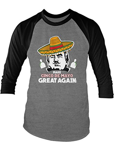 LOGOPOP Donald Trump Make Cinco De Mayo Great Again Unisex Adult Raglan T-Shirt, 2XL, Heather/Black