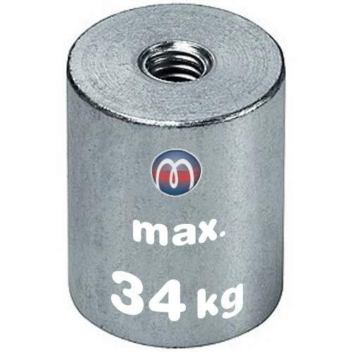 Stabgreifer Magnet Neodym Haltemagnet Innengewinde - Neodym N35 (NdFeB) - Durchmesser: Ø 6 bis Ø 63mm - Innen-Gewinde: M3x5 bis M12x14 - Haftkraft bis 170kg - Starke Magnete für Industrie und Zuhause, Größen:Ø 32 | M8x12 | 34kg Haftkraft