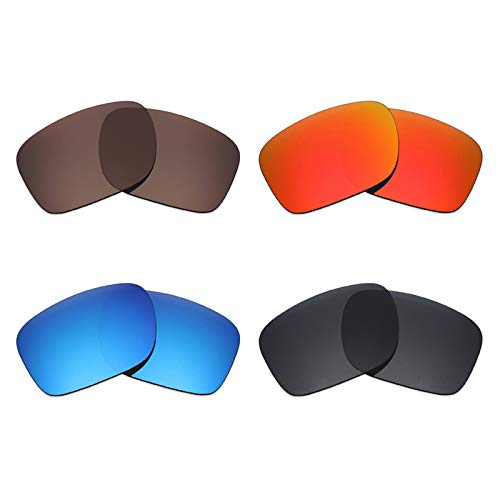 Mryok Lot de 4 paires de lentilles de rechange polarisées pour lunettes de soleil Oakley Holbrook LX Noir furtif/Rouge feu/Bleu glace/Bronze