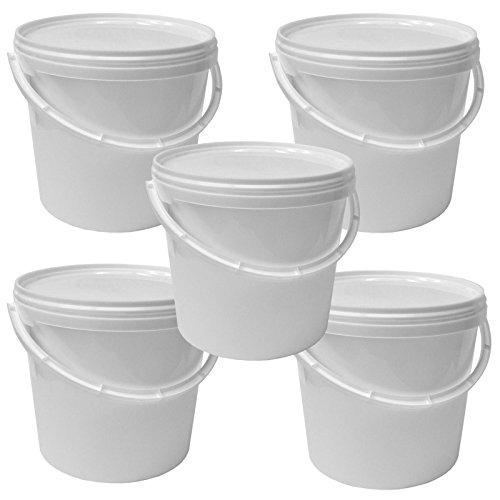 Lotto di 5 secchi plástico 5 L container qualità alimentare con coperchio e manico (5x22052)