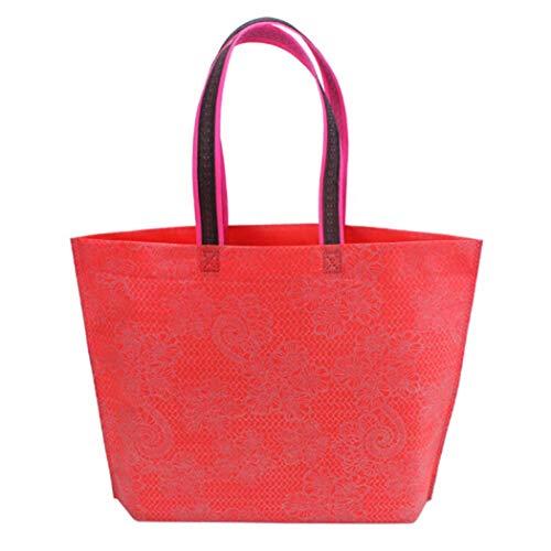 Eleusine Femmes Lady Red Pliable Sac à Provisions Non-Tissage Epais Sac à Main Occasionnel Nouveau Portable Fourre-Tout Haute Capacité