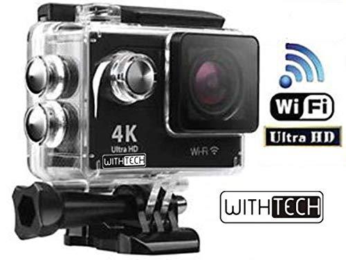 WITHTECH WiFi Cámara Deportiva Acción 1080P Full HD 2.0 LCD Pantalla Cámara Impermeable Baterías 900 mAh 120 Grados Gran Ángulo Sumergible 30m y Accesorios Multiples