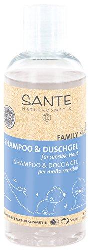 SANTE Naturkosmetik Family Kids Shampoo & Duschgel für sensible Haut, Speziell für Kinder, Pflegt die Haut, Reinigt sanft, Vegan, 200ml Doppelpack
