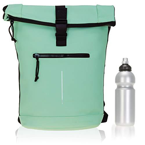 Rucksack Plane Time Bag Kurierrucksack Roll-up Fahrradrucksack Sport Fitness + Flasche (Mint Grün 67)