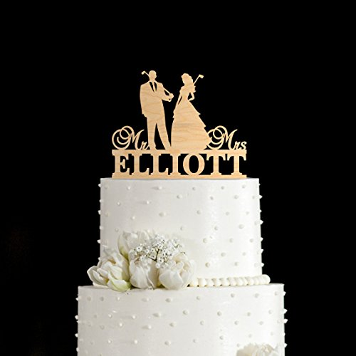 Susie85Electra Golf Wedding Cake Toppers,Wedding Cake Toppers Rustic Wood,Country Wedding Decor
