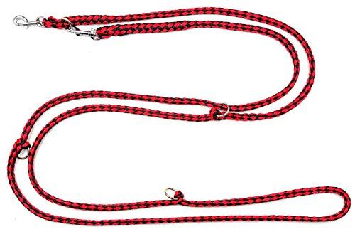elropet Hundeleine f. kleine Hunde Doppelleine 2,80m 4fach verstellbar schwarz-rot