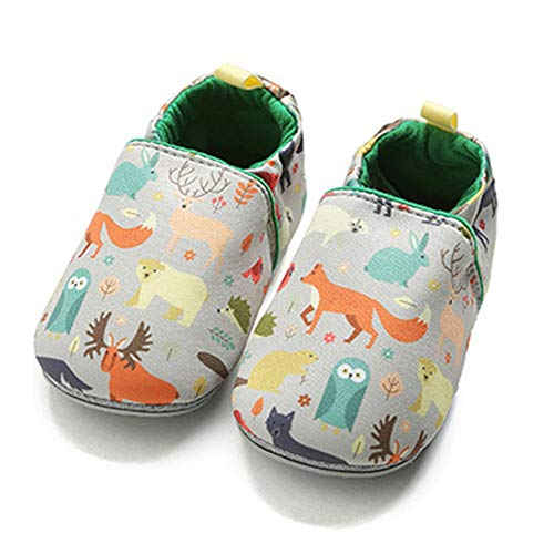 TIMATEGO Toddler Baby Boys Girls Shoes Non Skid Slipper Sneaker Moccasins Infant First Walker House Walking Crib Shoes(6-24 Months), 9-12 Months Infant, 01 Grey Fox