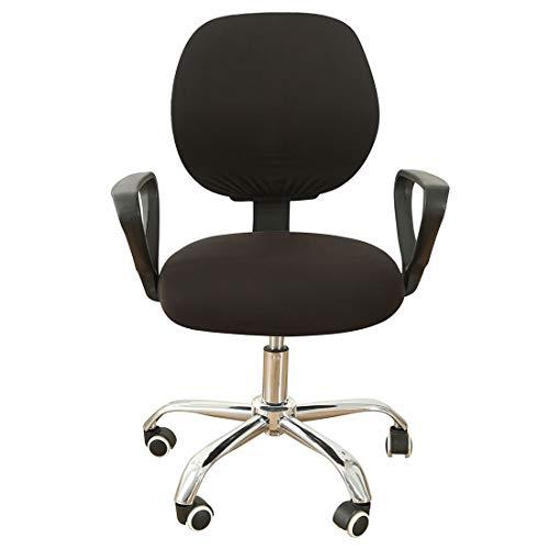 ZUQ Elastischer Bürostuhlbezug Bezug für Bürostuhl Universeller Drehstuhlschutz Bezug Schutzbezug Unabhängiger Sitzbezug und Rückenbezug, Einfarbig Schwarz