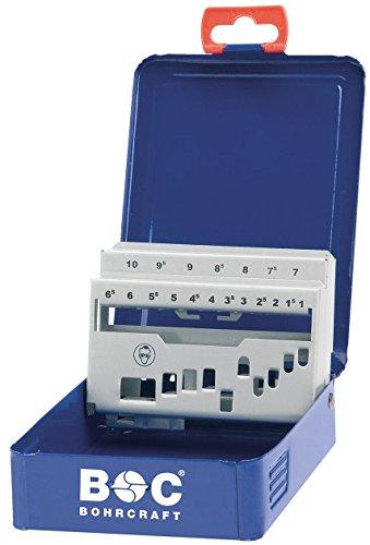 Bohrcraft, scatola in metallo, m 10, vuoto, 19 pezzi per trapano Hss Twist 338, blu scuro, 00801520019