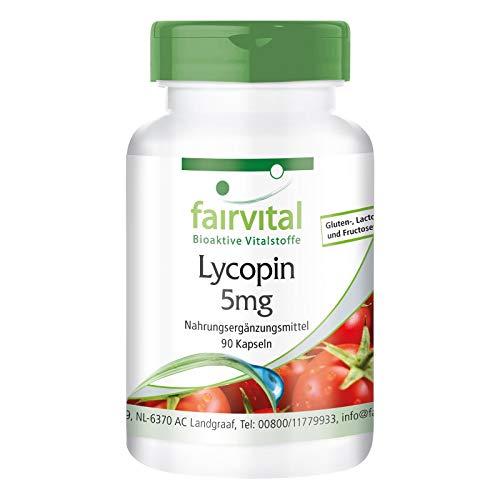Lycopin Kapseln 5mg - HOCHDOSIERT - VEGAN - 90 Kapseln - aus Tomatenextrakt