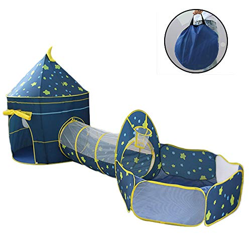 ZHZX Gift for Toddlers Boy's and Girl's 3 in 1 Ball Pit Play Tent with Crawl Tunnel and Ball Pit with Basketball Hoop Indoor Outdoor (Without Ball),Blue