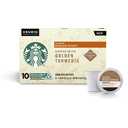 Starbucks Medium Roast Coffee K-Cup Pods with Golden Turmeric, Single Cup Coffee, 10 ct