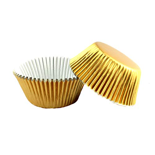 Warmparty Foil Baking Cups Cupcake Liners, Standard Sized, 200 Count (Gold)