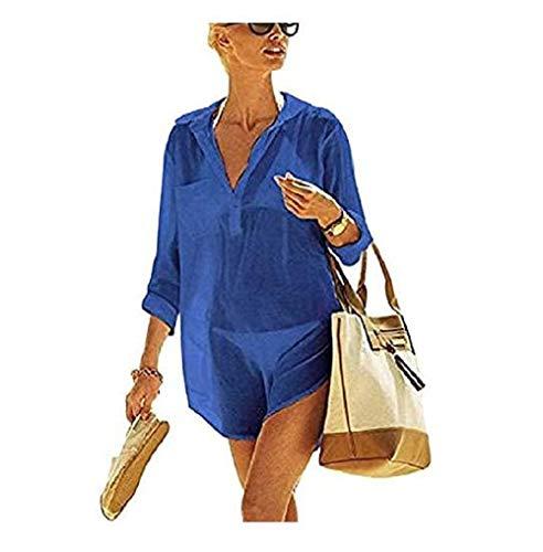 copricostume donna uv heekpek Copricostumi e Parei Donna Costumi da Bagno Abito Camicia da Donna Sexy Sciolto Beachwear Cover Up Costumi da Bagno Bikini Copricostume Spiaggia Camicetta