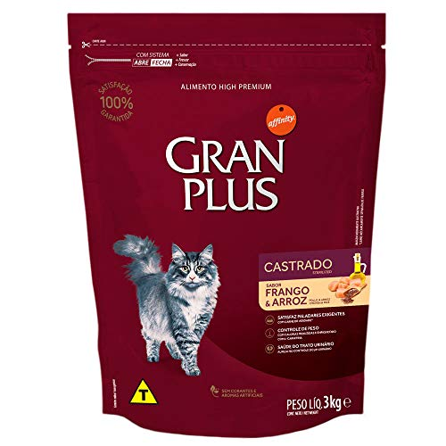 Ração para Gatos Castrados Gran Plus Frango e Arroz 3Kg