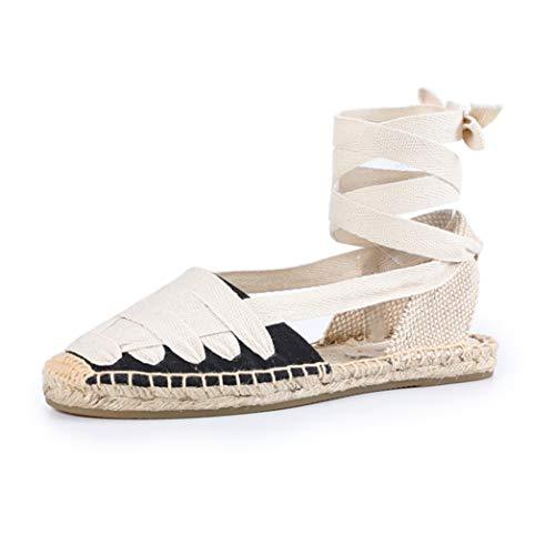 Sandalias Planas para Mujer Alpargatas con Cordones Lazo Suave en el Tobillo Zapatos Cerrados de Playa Zapatos de Playa clásicos Bombas Ocasionales de Lona Retro 35-40