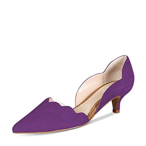 YDN Women Classic Pointy Toe Kitten Pumps Slip-on Suede Low Heel D'Orsay Shoes Formal Purple 9