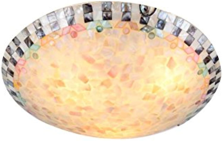 LED Bohemia Style Deckenleuchte Hand Handarbeit Buntglas Kreative Shell Deckenleuchte Wohnzimmer Schlafzimmer Gang Dekoration Anhnger Deckenleuchten (Farbe   Two-Farbe light-30cm)
