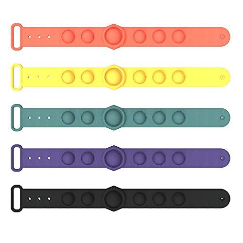 5 pulseras de silicona para dedo prensa de silicona, juguetes para niños, adultos, ansiedad autismo