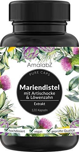 Mariendistel Artischocke Löwenzahn Komplex - 120 Kapseln - hochdosiert mit 80% Silymarin