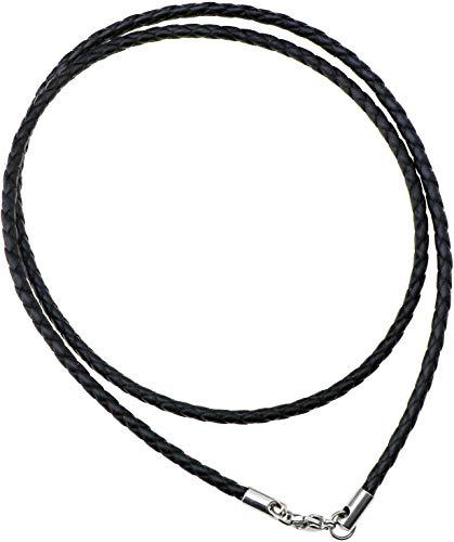 F Season 55cm Leder Halskette geflochten Lederkette Lederband Kette Kunstlederkette mit Edelstahl Verschluss Schwarz