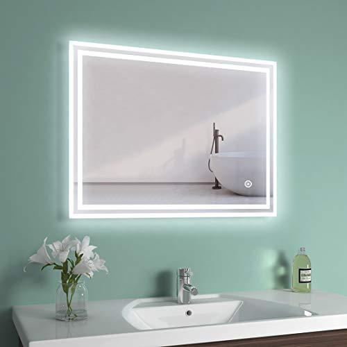 LED Badspiegel 04 (80x60cm, Touch+Beschlagfrei+3 Lichtfarbe)