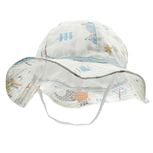 Happy Cherry - Bambino Cappello de Sole Estivo Bucket Hat Bambine Neonati Berretto Protezione Solare Regolabile Cappello Anti-UV con Sottogola Ragazza Ragazzo per Spiaggia Vacanza Viaggio - 18-36 Mesi