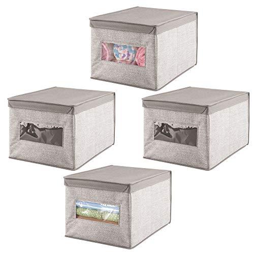 mDesign Caja organizadora con tapa para cambiador – Magnífica caja de tela jaspeada, ideal para organizar armarios, guardar prendas de ropa, pañales y artículos de bebés – Color: gris - Paquete de 4