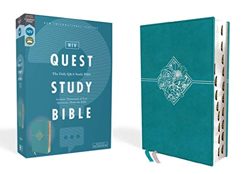 NIV, Quest Study Bible, Leathersoft, Teal, Thumb Indexed, Comfort Print: The Only Q and A Study Bible
