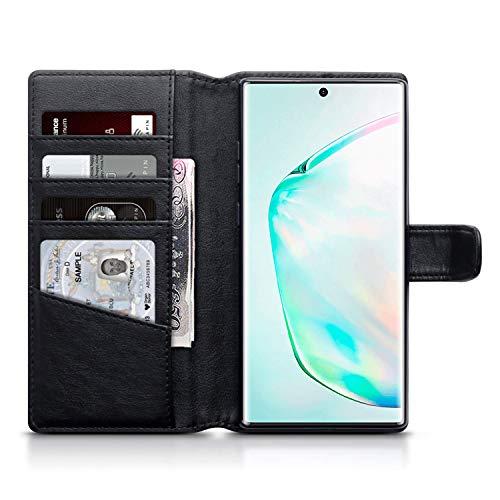 Olixar Funda para el Samsung Galaxy Note 10 Plus Tipo Cartera Cuero auténtico - Compatible con Carga inalámbrica - Negra