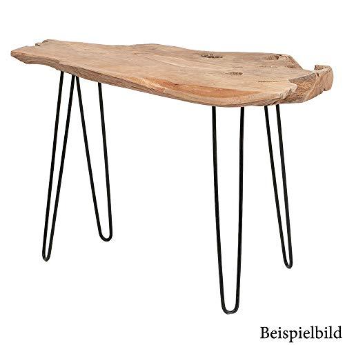 LEBENSwohnART Teak Konsolentisch Lazaro ca. L 120cm Konsole Baumkante Massivholz Handarbeit