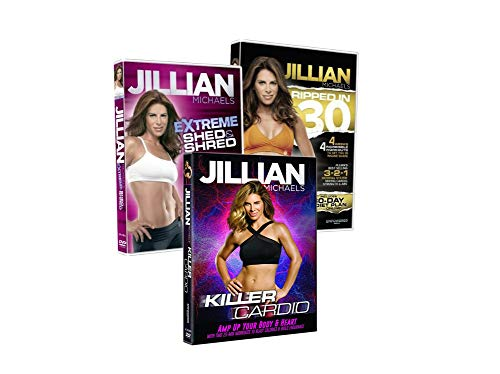 Jillian Michaels Fitness DVD's 3 Pack Ripped in 30 Days, Extreme Shed & Shred, Killer Cardio