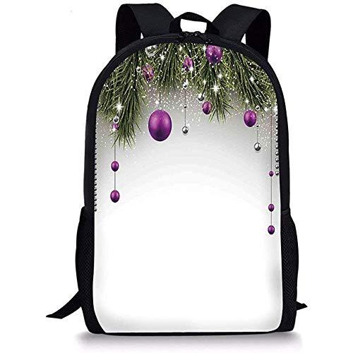 Hui-Shop Mochilas Escolares Decoraciones navideñas, Decoraciones para árboles Oropel y Bola con Imagen de Cinta de Papel de Regalo, Púrpura Gris Verde