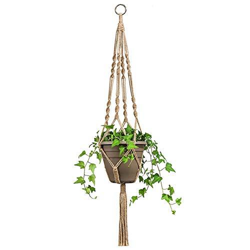 Wankd Naturel Style Fine Corde de Chanvre Plante Cintre Intérieur ou extérieur à Suspendre Pot de Fleurs Pot de Fleurs Panier Support
