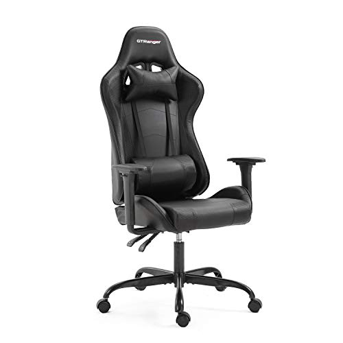 GTRanger Gaming Chair Racing Style High Back Computer Gaming Chair Adjustable Recliner Leather Office Desk Chair with Headrest and Lumbar Support (Black)