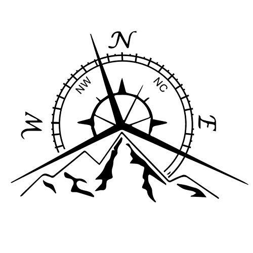RSZHHL Sticker de Carro Etiqueta engomada del Coche nswe Fashion montañas Etiqueta de la brújula en el Coche Pegatinas y calcomanías Divertidas Vinilo Car Styling 13,7 cm * 9,4 cm 2 Piezas Negro