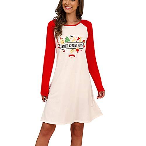 Vestido de Navidad para mujer, para el tiempo libre, con vestido de Papá Noel, moda para Navidad, sudadera, vestido de fiesta, blusa larga rojo S