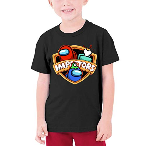 Teenages Tee, Among Us Video Games T-Shirt for Youth, Wicking Short-Sleeve Tees Shirt Crew Neck Custom Made Tops Clothing - Large Black