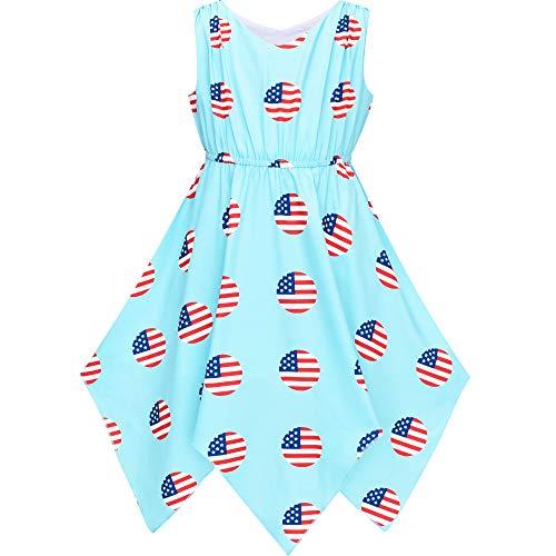 Flickor Klänning Amerikanska flaggan Juli 4: e Hanky Hem nationaldag 10 år