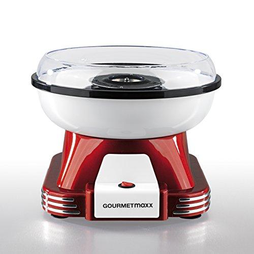 GOURMETmaxx Zuckerwattemaschine für Zuhause | Mit Zubehör für Cotton Candy, Candy Floss Maschine Set | Mit Zuckerwatte Stäbchen, Messlöffel, 500 Watt [Rot/Weiß]