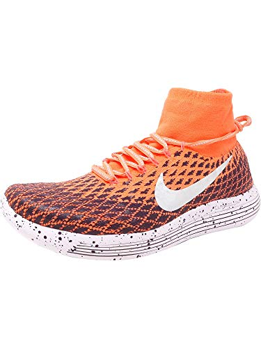 Nike Women's Lunarepic Flyknit Shield Bright Mango/Metallic Silver Ankle-High Fabric Running - 11M