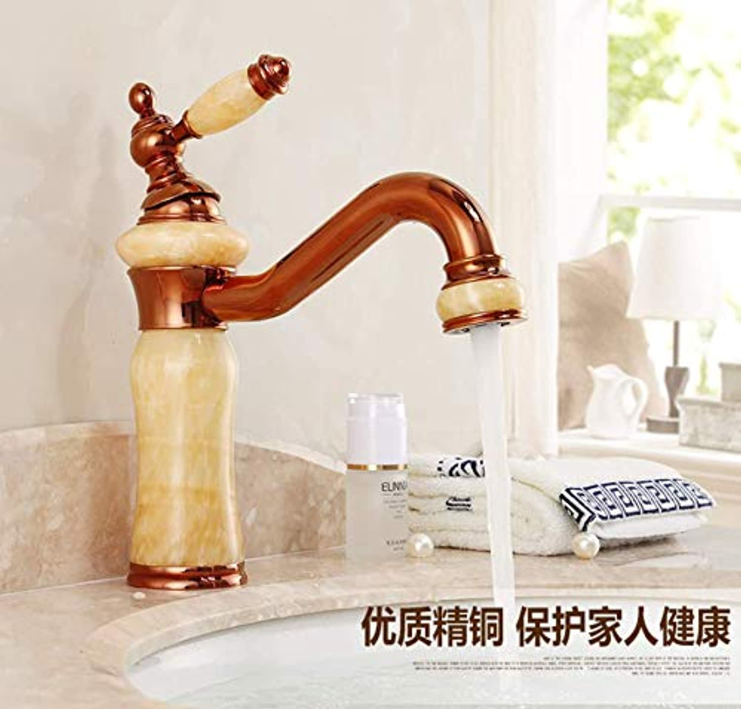 Tub Taps Faucet Copper gold Jade Faucet Hot and Cold Wash Basin Single Hole redating Antique Marble Basin Faucet