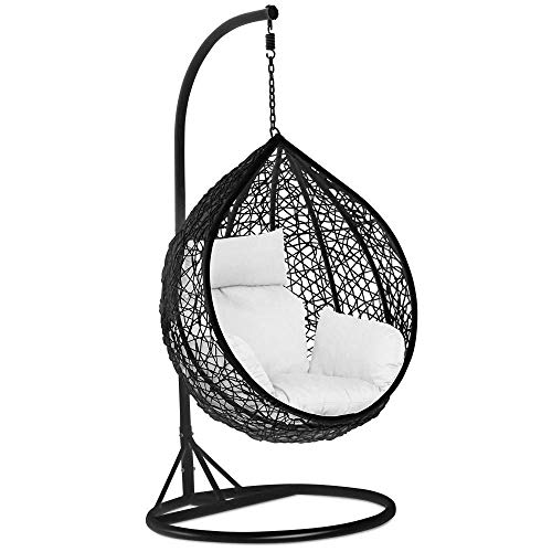 NBVCX Home Services Rattan Swing Egg Chair Garden Patio Indoor Outdoor Hanging Chair with Stand Cushion and Cover Black 150kg Capacity(NO CHAIR)