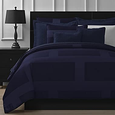 Comfy Bedding Frame Jacquard Microfiber 8-Piece Comforter Set (Cal King 8-piece, Navy Blue)